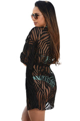 Black Animal Print Drawstring Cover Up Dress - Online Women ONE PIECE SWIMWEAR