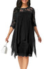 Black Chiffon Overlay Three Quarter Sleeve Dress