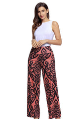 Black Damask Print Palazzo Pants - Online Women Pants & Culotte Dress