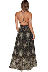 Black Daring Open Back Glittering Party Dress