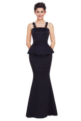 Black Delicate Floral Applique Mesh Insert Long Peplum Dress - Online Women Evening Dress