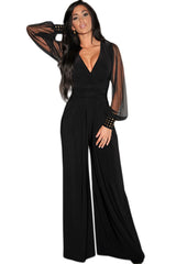 Embellished Cuffs Long Mesh Sleeves Jumpsuit - Online Women Jumpsuits