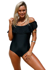 Black Flounce Off Shoulder One Piece Swimsuit - Online Women ONE PIECE SWIMWEAR