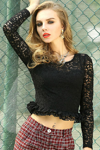 Black Flouncing Hemline Long-sleeve Lace - Online Women Crop Tops