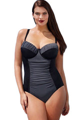 Block Ruched Plus One Piece - Online Women Plus Size Swimwear