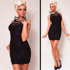 Black Lace Mesh Insert Sexy - Online Women Club Dresses