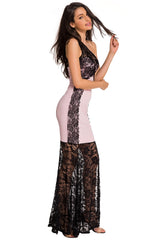 Lace Splice Pink One Shoulder Maxi - Online Women Evening Dress