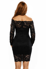 Black Lace off Shoulder Dress - Online Women Mini Dress