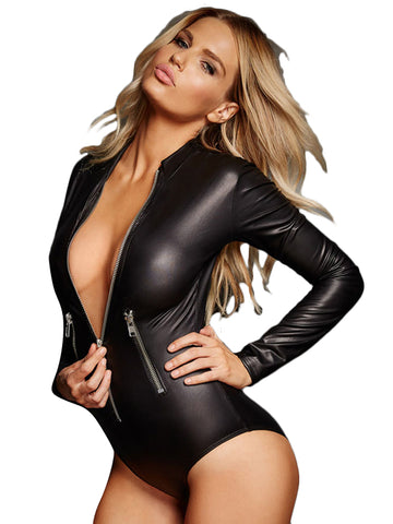 Black Leathery Long Sleeve Zip Detail Bodysuit - Online Women VINYL & LEATHER LINGERIE