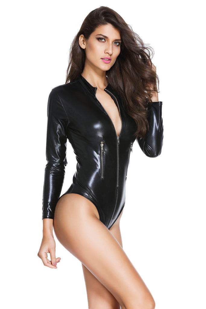 dc3c70608a12 Black Leathery Long Sleeve Zip Detail Bodysuit - Online Women VINYL   LEATHER  LINGERIE. Rahel Fashion. SKU  Availability  Many in stock. Previous