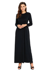 Long Sleeve High Waist Maxi - Online Women Jersey Dress