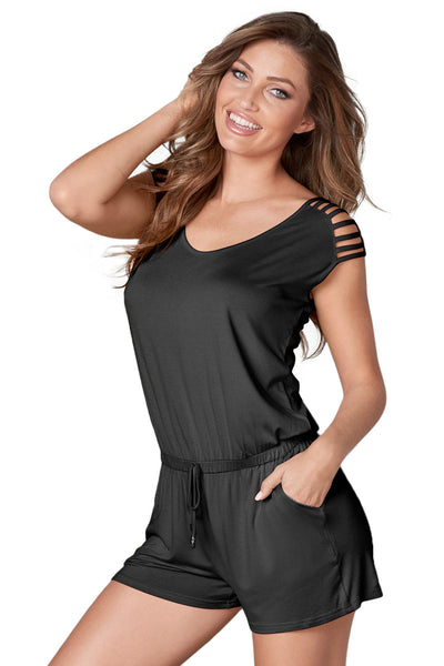 Black Loose Fitting Short Jumpsuit