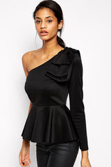 Black One Sleeve Applique Peplum - Online Women Clubwear Top