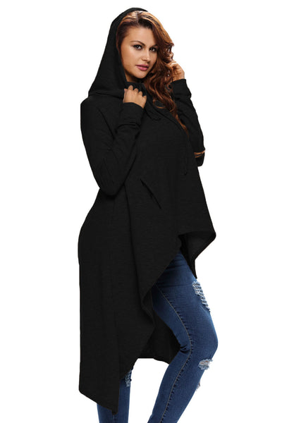 Plain Drawstring Irregular Oversize Hoodie - Online Women SWEATERS & HOODIES