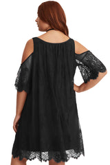 Black Plus Size Lace Cold Shoulder Trapeze Dress