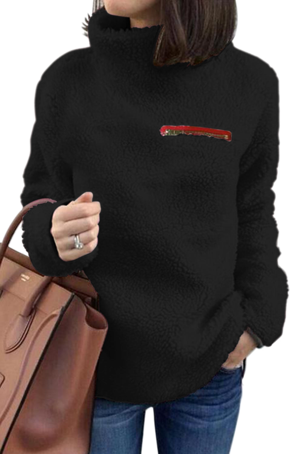 Black Plush Pullover Stand Collar Sweatshirt