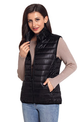 Black Quilted Cotton Down Vest - Online Women Suits & Coats Dress