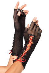 Black Red Lace up Fishnet Fingerless - Online Women Gloves