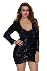 Ruched Sequin Long Sleeve Club Dress - Online Women Club Dresses