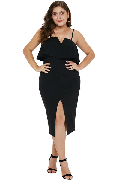 Black Ruffle Overlay Slit Front Plus Size Dress