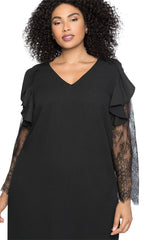 Black Ruffle Trim Lace Sleeve Plus Size Shift Dress