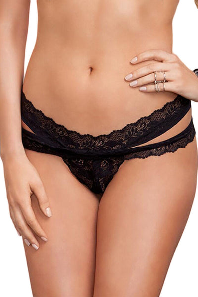 Black Scalloped Lace Thong - Online Women THONGS