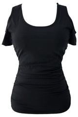 Scoop Neck Cold Shoulder Stylish - Online Women's T-Shirts Dress