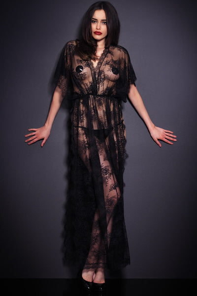 69cb41c7d89 Black Sheer Lace Kaftan Robe with Thong - Online Women GOWN   LONG DRE –  Rahel Fashion