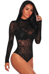 Black Sheer Mesh Geometric Velvet - Online Women Bodysuit