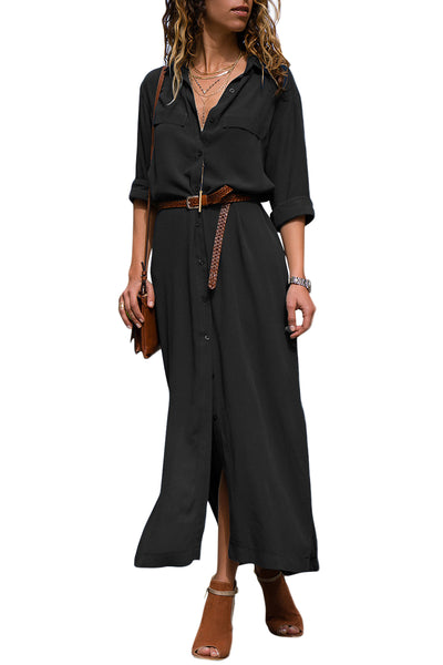 Black Slit Maxi Shirt Dress with Sash