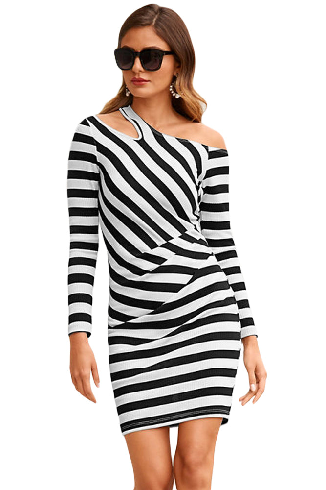 Black Striped Asymmetric Shoulder Cutout Mini Dress
