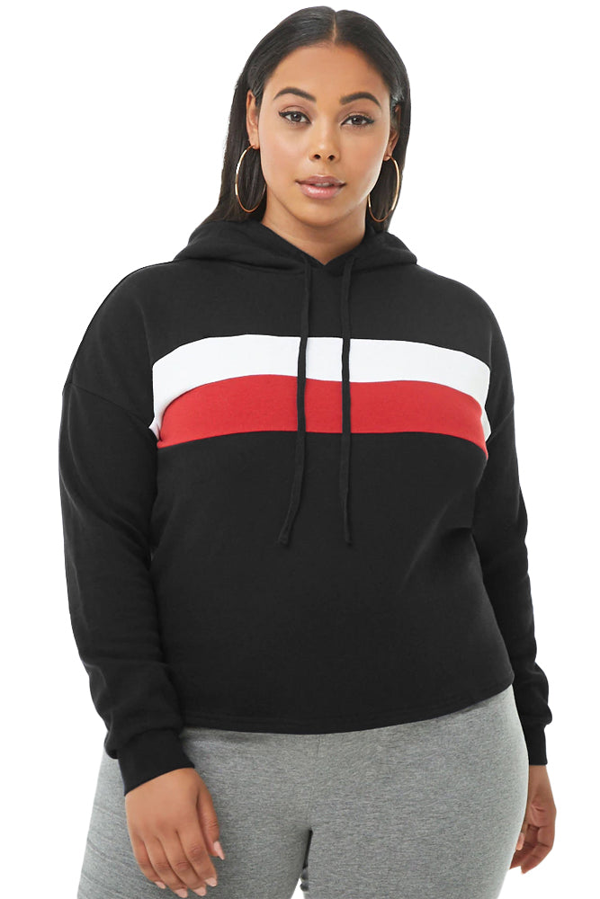 Black Striped Detail Plus Size Chunky Hoodie
