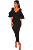 Black Tiered Sleeve Cold Shoulder Bodycon Dress