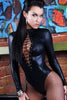 Black Wet Look Long Sleeve Bodysuit - Online Women VINYL & LEATHER LINGERIE