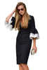 Black White Bodycon Ruffle Sleeve Cuff Midi Dress - Online Women Daily New
