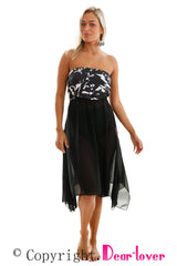 Black & White Monochrome Print Sarong Cover up - Online Women  Beach Dresses
