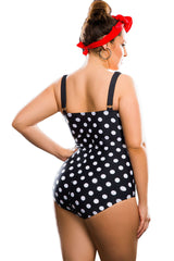 Black White Polka Dot One-Piece - Online Women Plus Size Swimwear