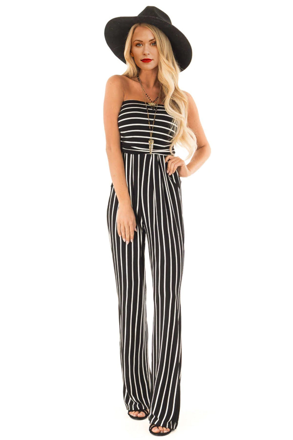 Black White Striped Sleeve Jumpsuit