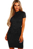 Black Women's Party Mini Lace Peplum Dress - Online Women Peplum Dress