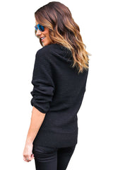 Black Wrap Front V Neck Ribbed Long Sleeve Sweater
