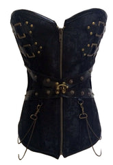Black Zip Front Steampunk Corset with Thong - Online Women CORSETS
