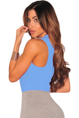 Blue Faux Wrap Sleeveless Bodysuit - Online Women Daily New