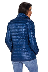 Blue High Neck Quilted Cotton Jacket - Online Women Suits & Coats Dress