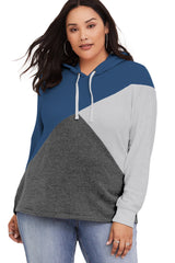Blue Hooded Tricolor Blocked Plus Size Top