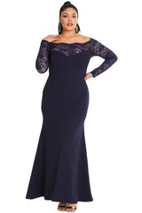 Blue Lace Off-The-Shoulder Plus Size Maxi Dress