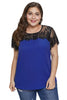 Blue Lace Yoke Plus Size Top