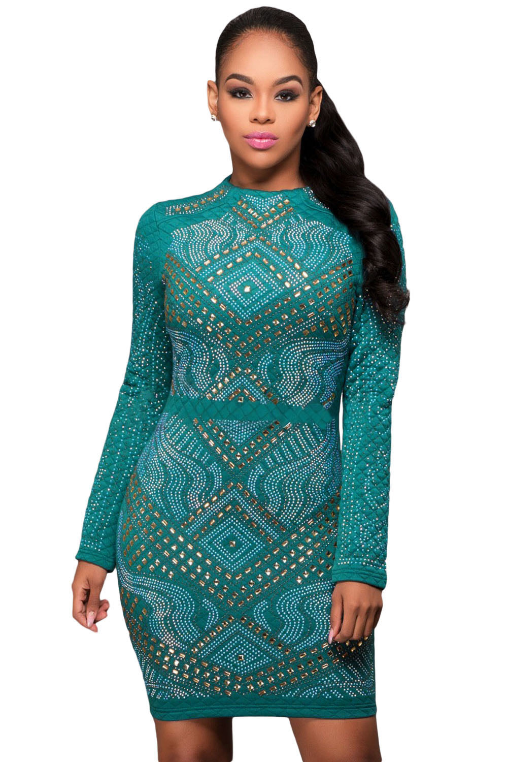 Blue Mini Jeweled Quilted Long Sleeves Dress - Online Women Mini Dress