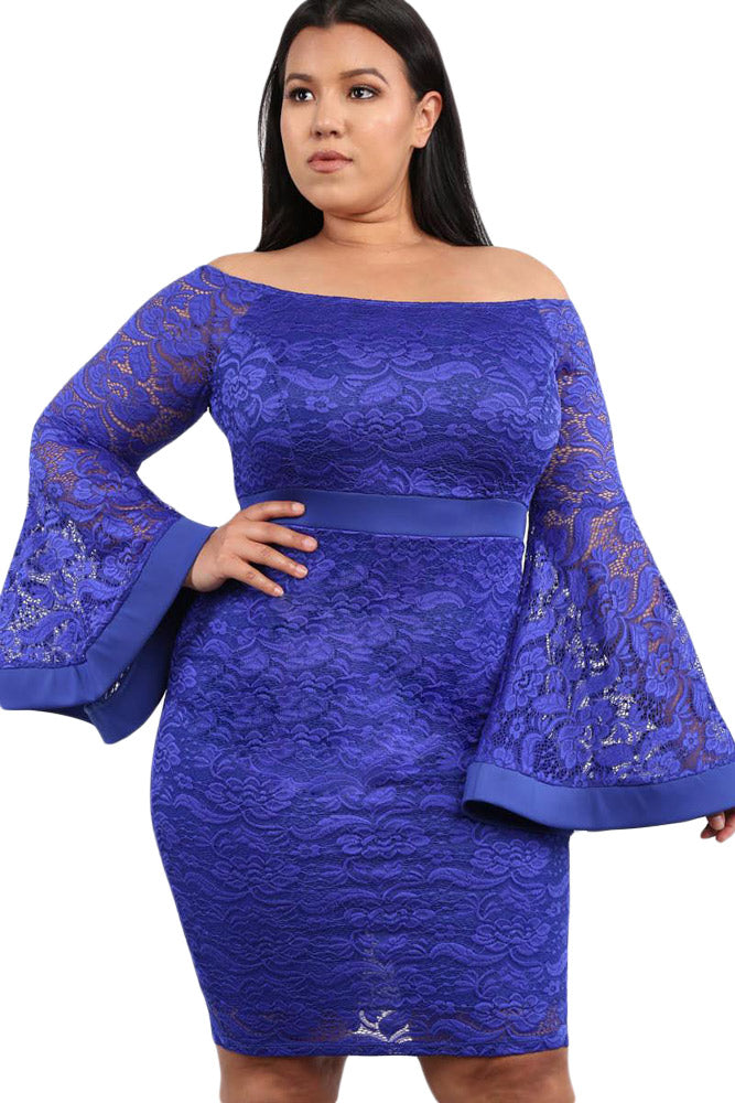 Blue Plus Size Long Bell Sleeve Lace Dress