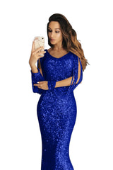 Blue Sequin Fringe Sleeve Party Maxi Evening Dress