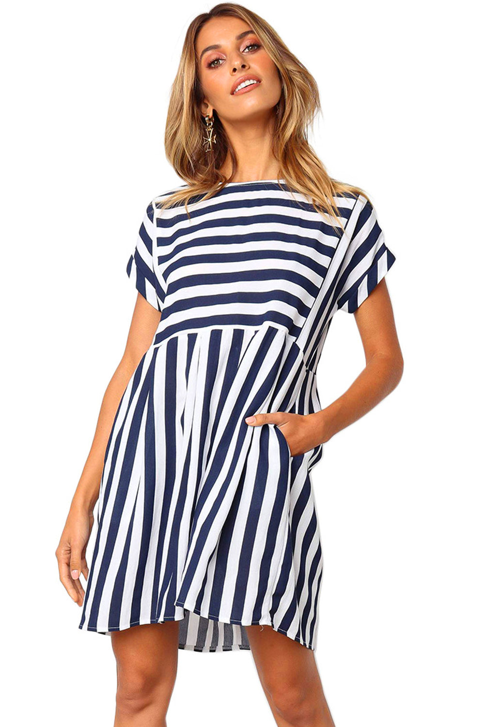 Blue Striped Casual Dress